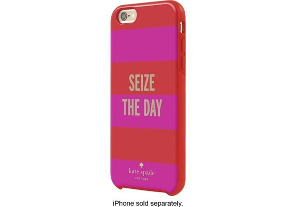 Kate Spade New York Hybrid Hard Shell Case for Apple iPhone 6 Plus and 6s Plus, Sieze the Day Rugby Stripe Red/Pink