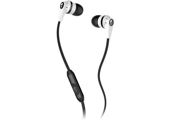 Skullcandy INK D MIC D Earbud Headphones, White and Black