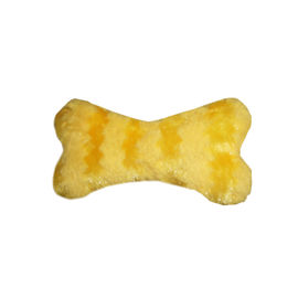 Canine Bone Shaped Plush Squeaky Soft Toy, 21 cm x 11 cm, orange yellow