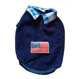 Rays Premium Double Fleece Warm Collar Tshirt for Small Dogs, navy blue flag, 14 inch