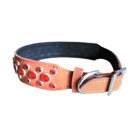 Zorba Designer Coloured Rhinestone Leather Collar for Small to Medium Dogs, 20 inch, orange