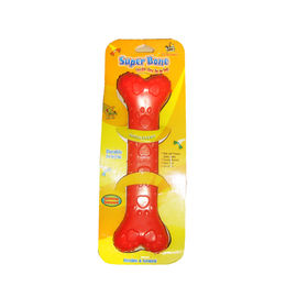 Super Dog Paw Print Flexible Rubber Bone, red, 8 inches
