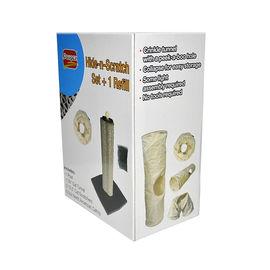 Dougez Hide-n-Scratch Cat Scratcher Post & Tunnel Toy, brown