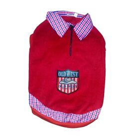 Rays Premium Double Fleece Warm Collar Tshirt for Small Dogs, red old west, 18 inch
