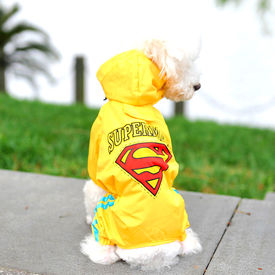 Puppy Love Jumpsuit Styled Superhero Raincoats for Small Breed Dogs, xl, red