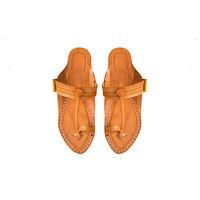 Yellow Leather Kolhapuri Chappal, 8