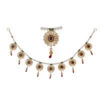 Torans / Door Hanging/ Bandhanwar in white pearls and green stone and red brooch