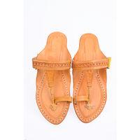 Yellow Leather Kolhapuri Chappal, 4