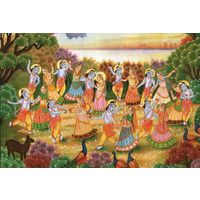 Painting Lord Krishna Dancing With Girls