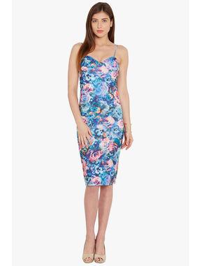 Floral Print Bodycon Dress, xl, blue