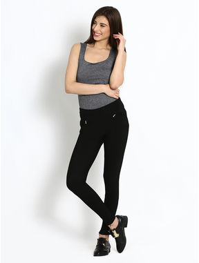 Stretch Black Pants with Ankle Zipper, xl, black