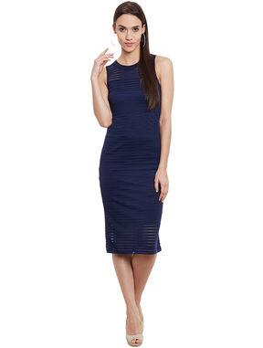 Navy Self-Stripe Bodycon Dress, l, navy blue
