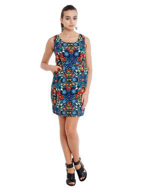 Floral pencil dress with pockets, xl, crepe, blue