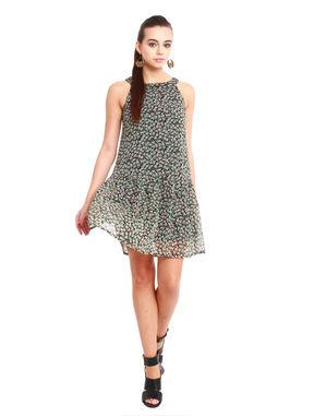 Drop-waist floral dress, l, chiffon, green