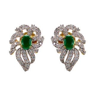 Green Stone And American Diamond Adorned Studs