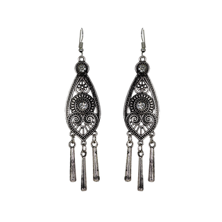 Oxidised Silver Long Drop Dangler Earrings For Women