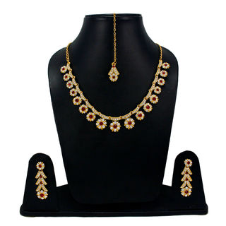 CZ And Maroon Stones Adorned Sleek Necklace Set