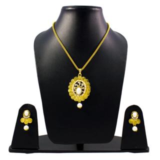 Temple Design Golden Coin Pendant Set For Women
