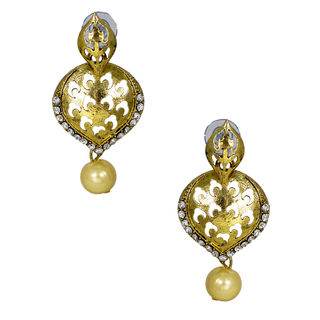 Ethnic Danglers In Silver Stone And Dangling Pearl