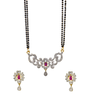 Designer American Diamond Mangalsutra For Women In Pink