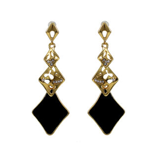 Golden And Black Long Drop Alloy Earrings