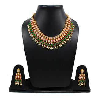 Mini Bridal Necklace Adorned With Kundan And Green Stones