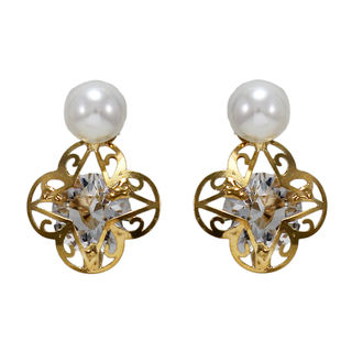Golden Star Studs Adorned With Stone And Pearl
