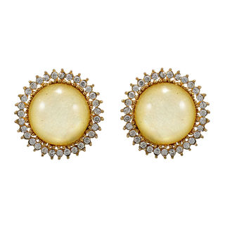 Round White Stone Adorned Studs For Women