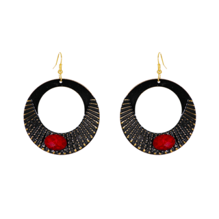 Round Metallic Fashion Dangler Earrings With Red Stone