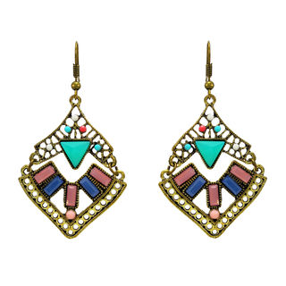 Gold Tone Antique Danglers With Multi-Color Stones