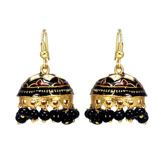 Meenakari Work On Black And Golden Jhumki