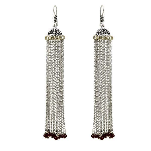 Beautiful Long Chain Earrings In German Silver For Women
