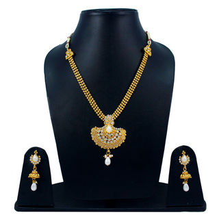 Beautiful Golden Necklace Set Adorned With White Stones