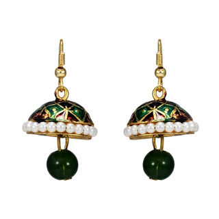 Green And Golden Pearl Adorned Jhumki