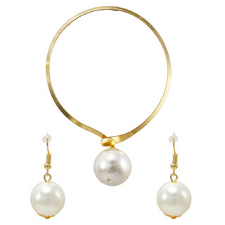 Pearl Adorned Gold Tone Choker With Earrings