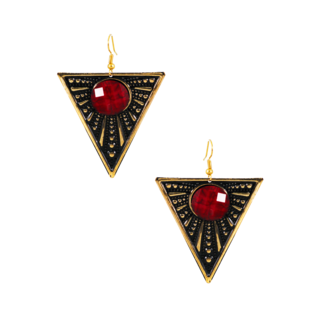 Triangle Shape Metallic Fashion Dangler With Red Stone
