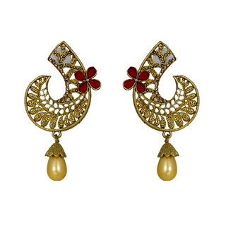 Beautiful Golden Red Alloy Danglers With Pearl