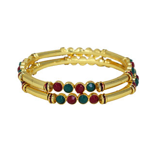 Pair Of Gold Tone Bangles Adorned With Pink Green Stones, 2-4