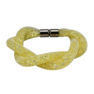 Crystal Filled Fashion Bracelet In Yellow And Silver, free size