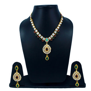 Red Green Stones Adorned Necklace Set With Kundan