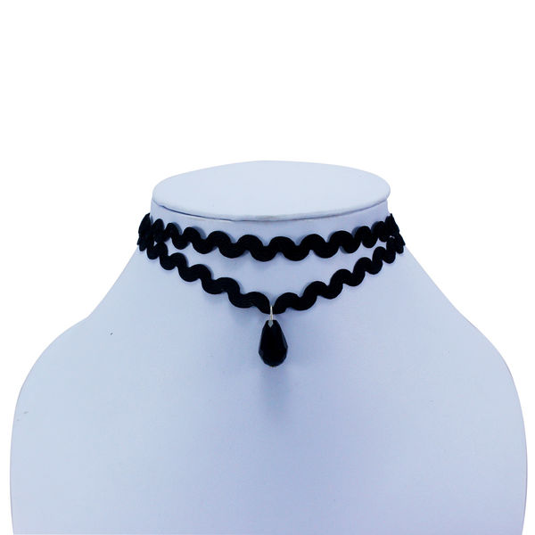 Black Choker With Dangling Black Bead For Women