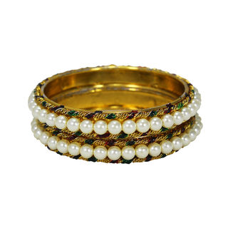 Gorgeous Set Of Two Pearl Adorned Bangles Set, 2-6