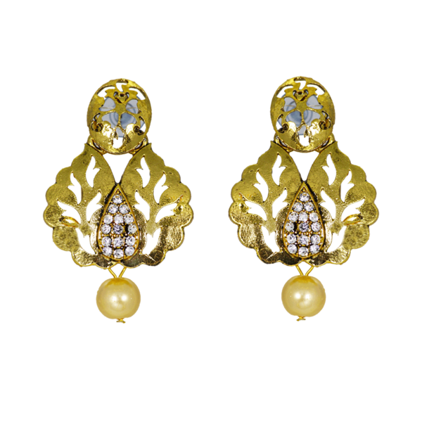 Alluring Gold Tone Danglers Earrings With Silver Stone