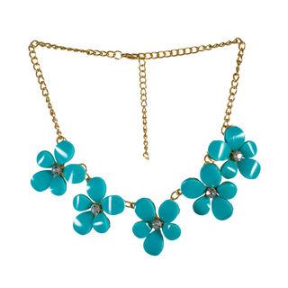 Blue Stones Floral Design Statement Neck-Piece