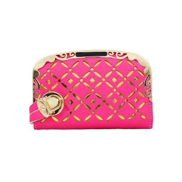 Designer Pink Wallet With Golden Design For Women