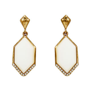 White Stone Adorned Gold Tone Earrings