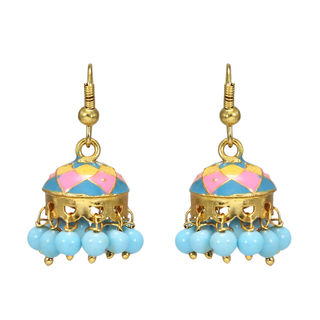 Light Weight Ethnic Jhumki In Blue And Pink