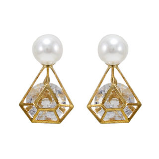 Gold Tone Earrings Studded With Pearl And Stone