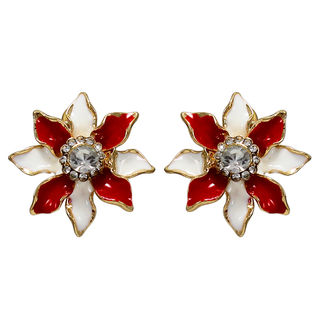 Red And White Floral Studs For Women