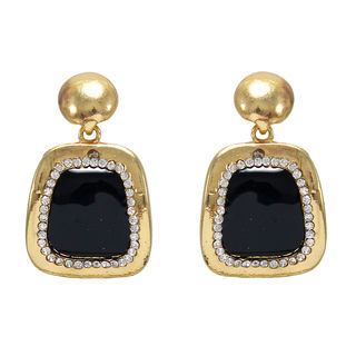 Dangling Black Square With Golden Frame Earrings